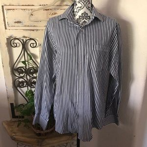 Izod Navy and white mens button down